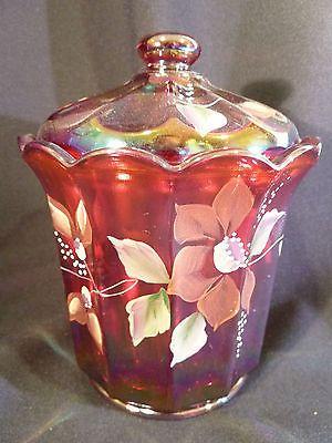 Original Fenton Red Carnival Gl Hand Painted Signed Er Bisquit Jar