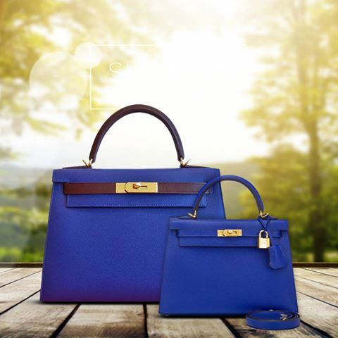 c21af3439f Hermès Kelly HSS Custom Order in Blue Electric and Bordeaux Epsom Sellier  Leather with Gold Hardware