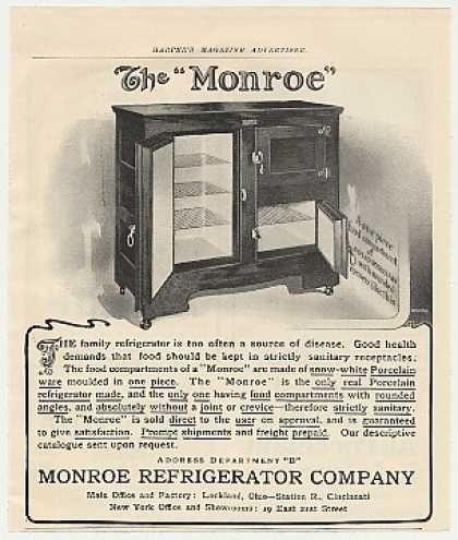 Monroe Refrigerator Company 1900 Ad Vintage Appliance