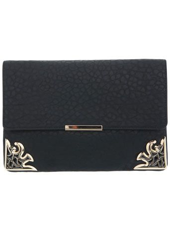 I need this...Black Deco Corner Clutch - Miss Selfridge