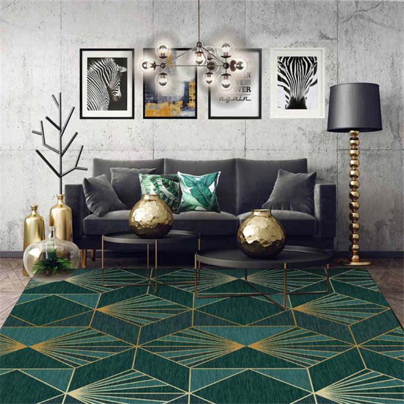 Aovoll Area Rug For Bedroom European Dark Green Gold Geometric