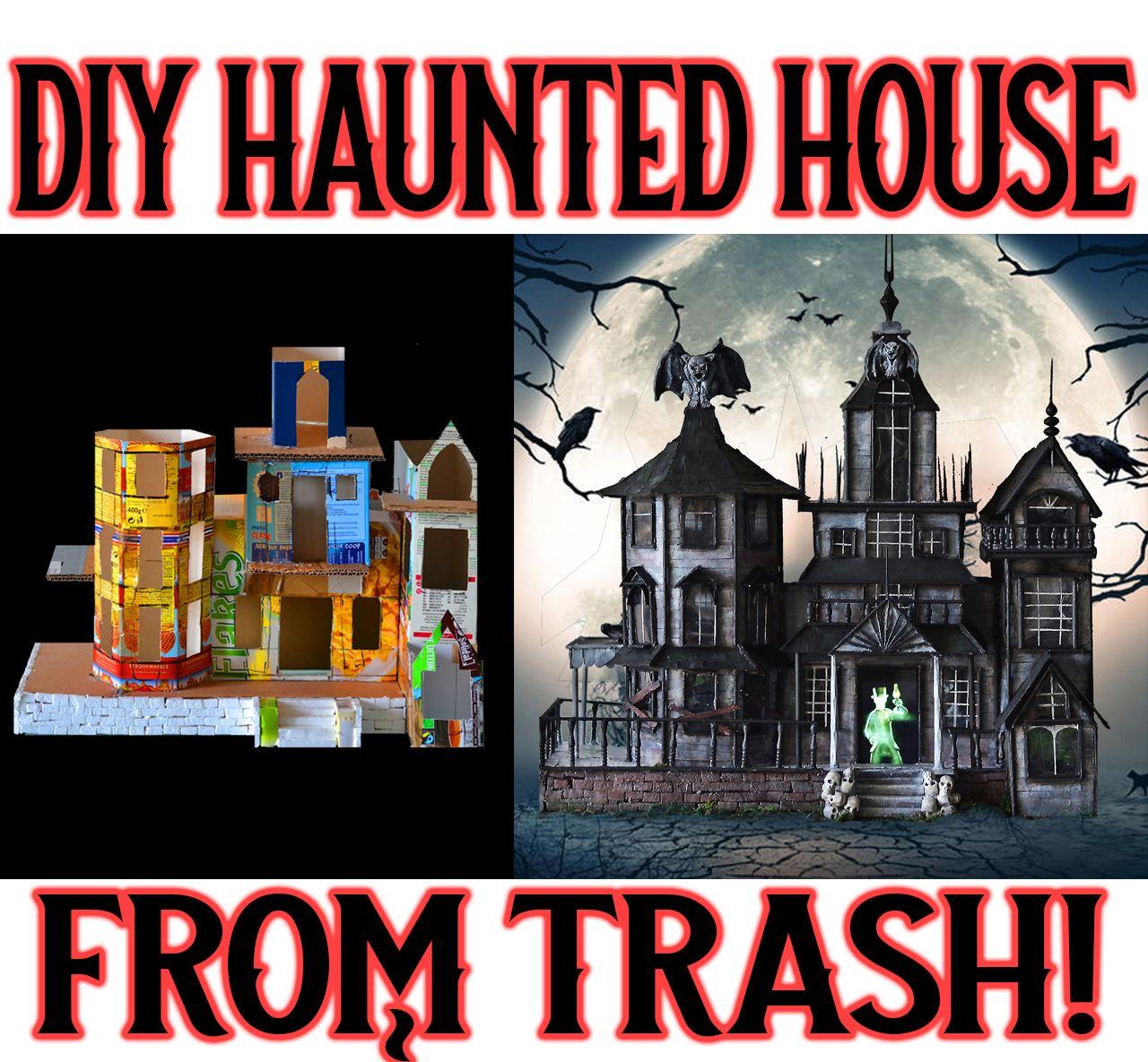 DIY Miniature Haunted dollhouse mansion houseusing TRASH! Halloween decoration crafts