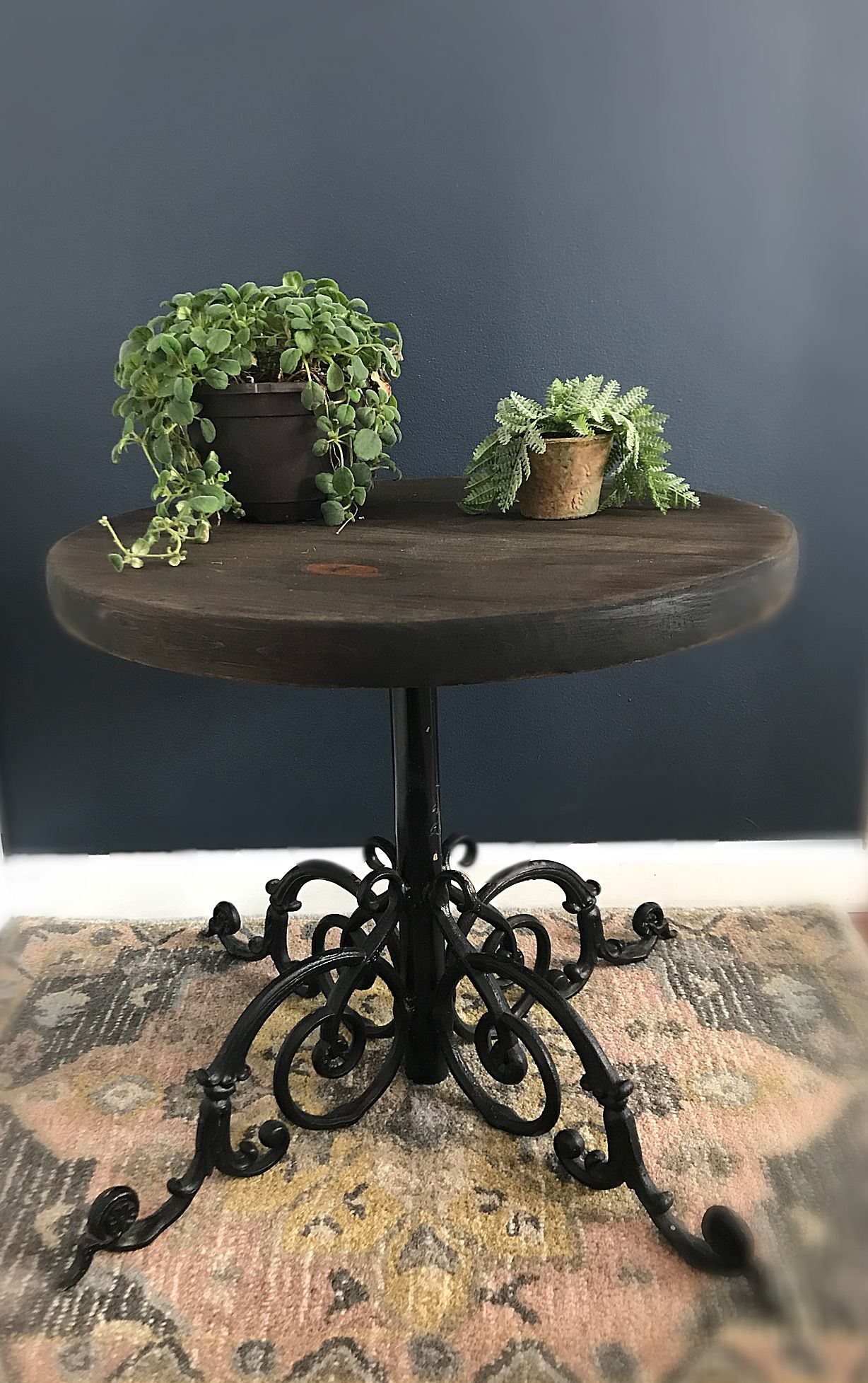Antique coffee table iron base travel rustic end table