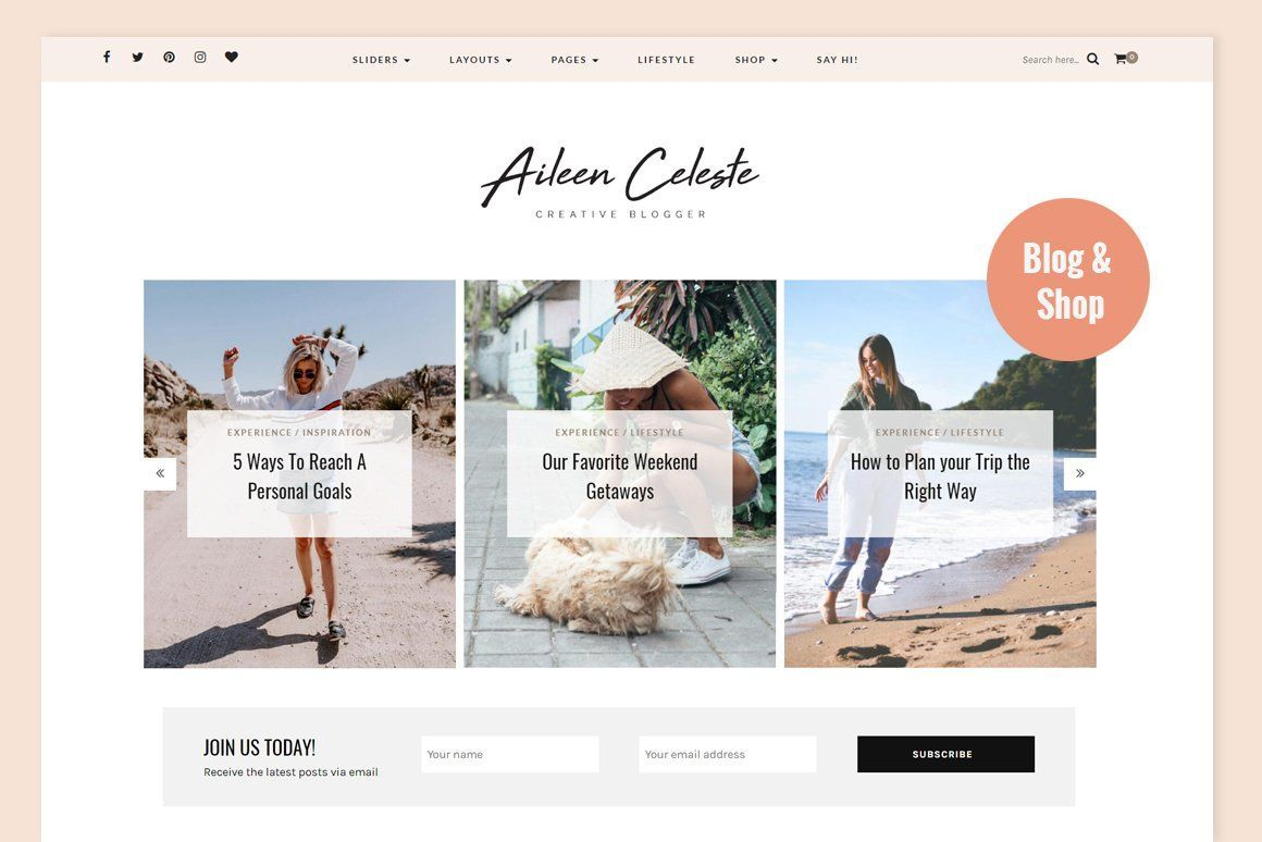 Aileen A Personal Blog Shop Blog Themes Wordpress Web Themes Blog Themes