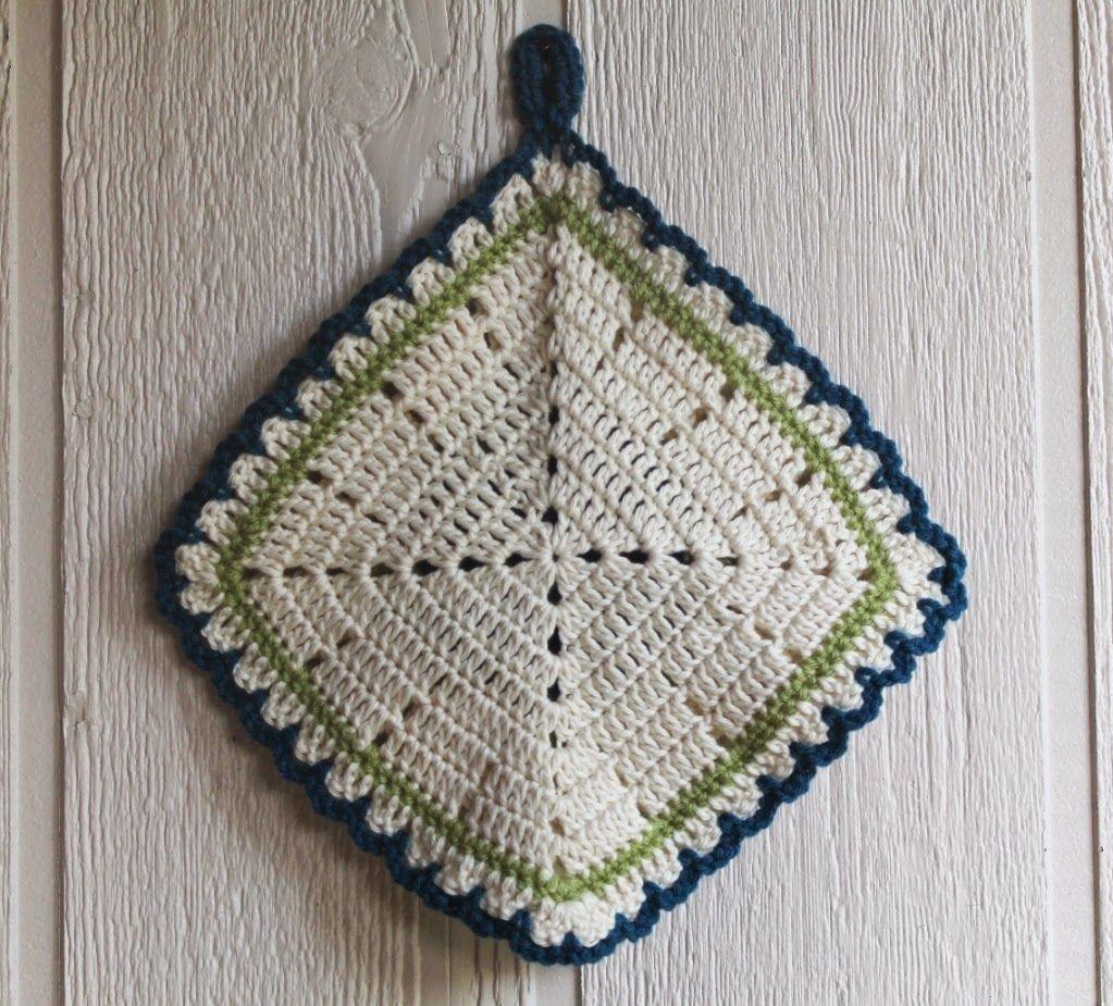 Scotty\'s Place: Teal Vintage Rose #Crochet Potholder (back side ...