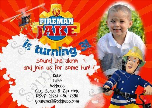 Fireman Sam Birthday Party Invitation Free Thank You Card Fireman Sam Birthday Party Fire Man Birthday Party Fireman Birthday