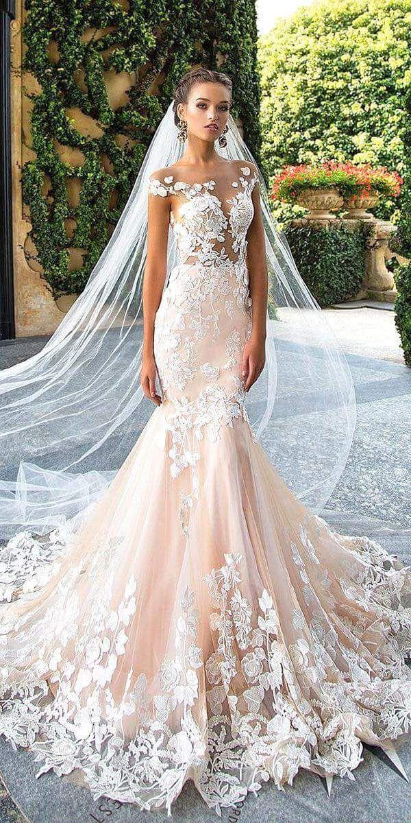 42 Alluring Blush Wedding Dresses That Would Have Him Blushing All Day Long Kleider Hochzeit Brautmode Hochzeitskleid