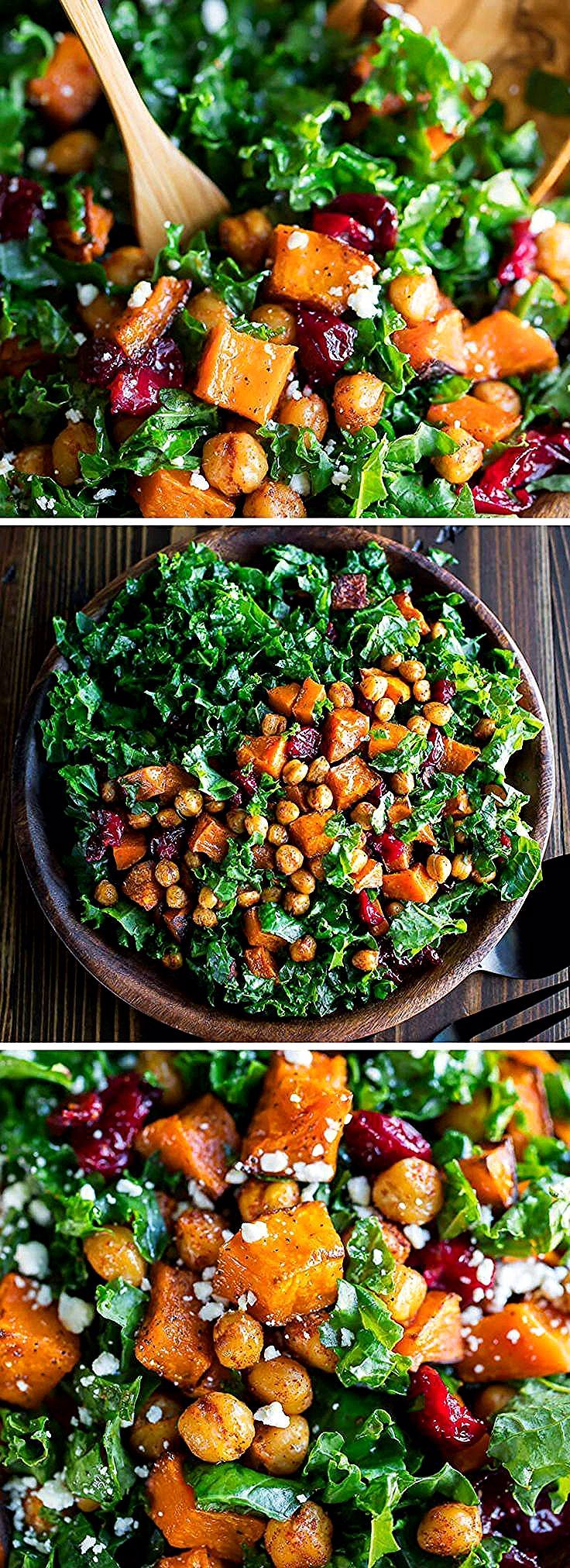 Im beyond obsessed with this Roasted Butternut Squash Kale Salad topped with honey roasted cranberries and crispy seasoned chickpeas Its healthy and delicious