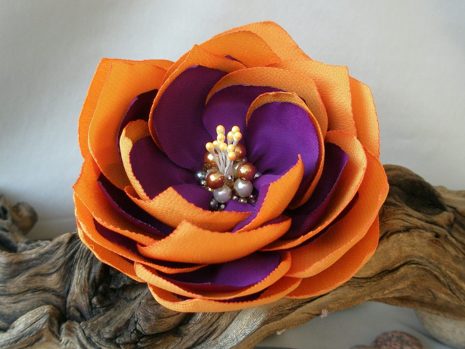 bright purple and orange flower brooch with intricate center we should make this for mom to. Black Bedroom Furniture Sets. Home Design Ideas