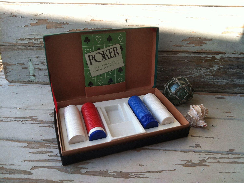 Vintage Poker Chip Set in Green Carryng Case, on SALE