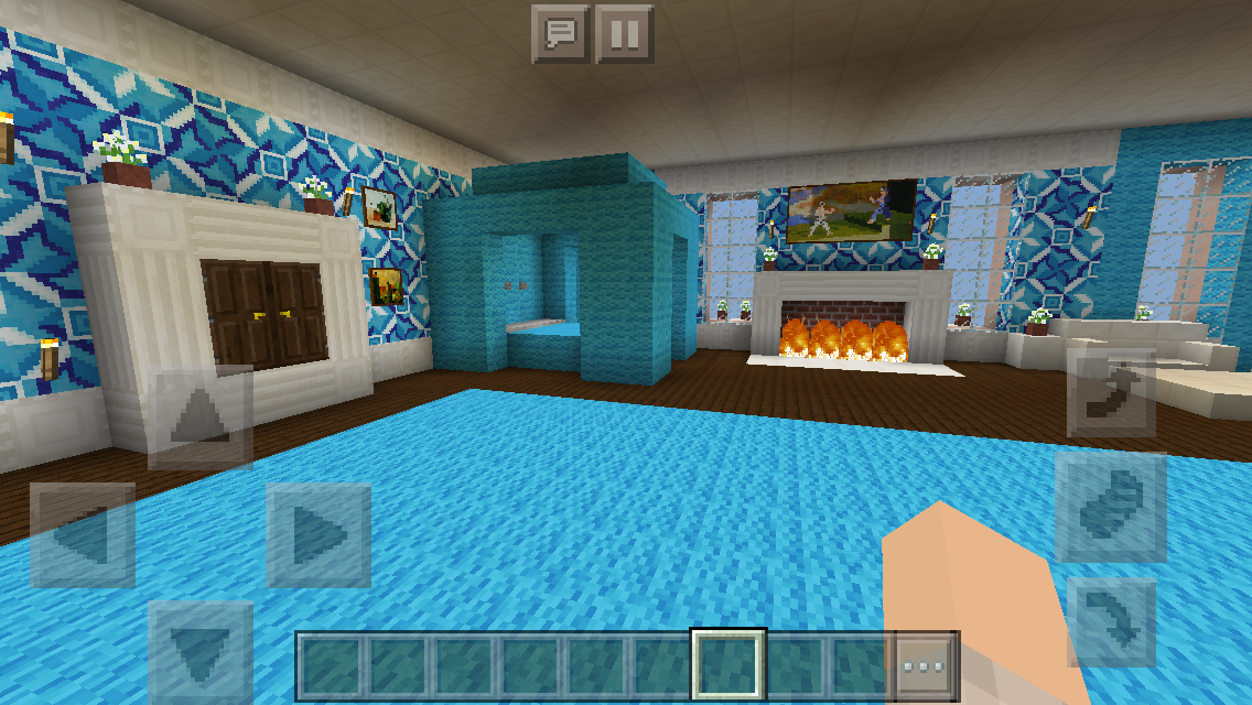 (double bed bedroom), a room with pink and purple beds at the end, as well as a table with a flower pot in the corner. My Mansion #2- Minecraft Master bedroom   Minecraft ...