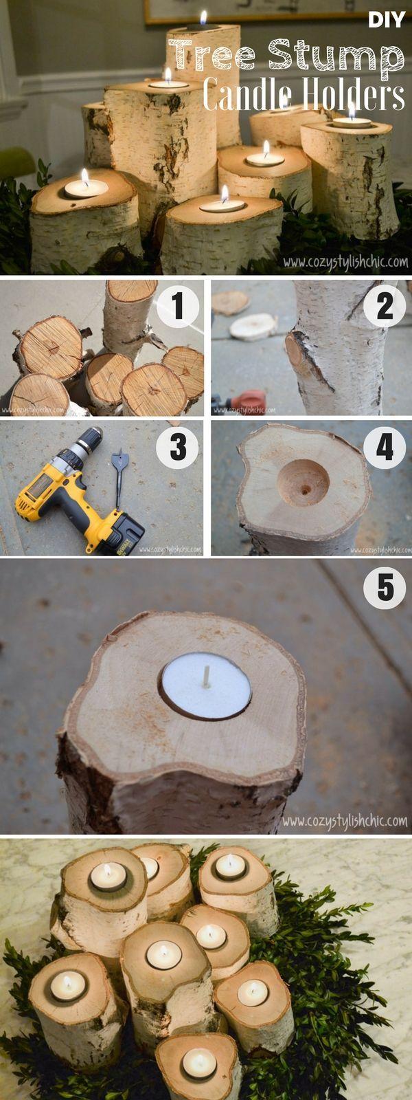 diy log tea light candle holder tea light candles wood grain