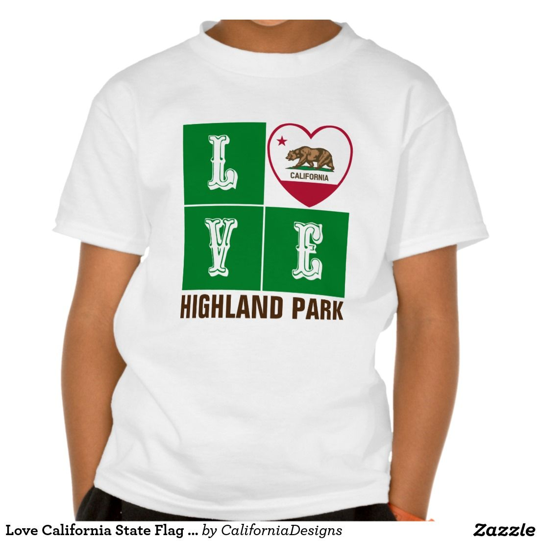 Love California State Flag Heart Highland Park T-Shirt