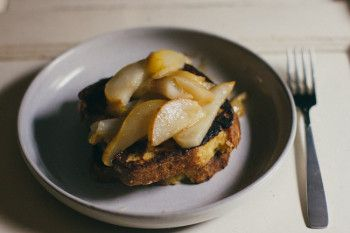 french toast with bittersweet chocolate and pears