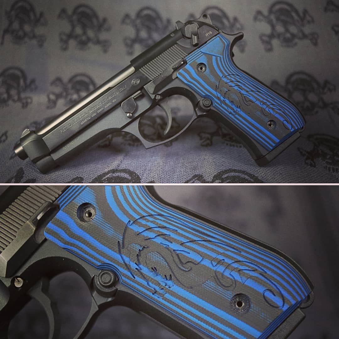 🐉 Some Beretta 92 grips with a custom Dragon engraving shipping out