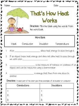 Worksheet Sources Of Heat Worksheet For Children cool and not so materials will this spoon conduct heat in common core insulators conductors activities