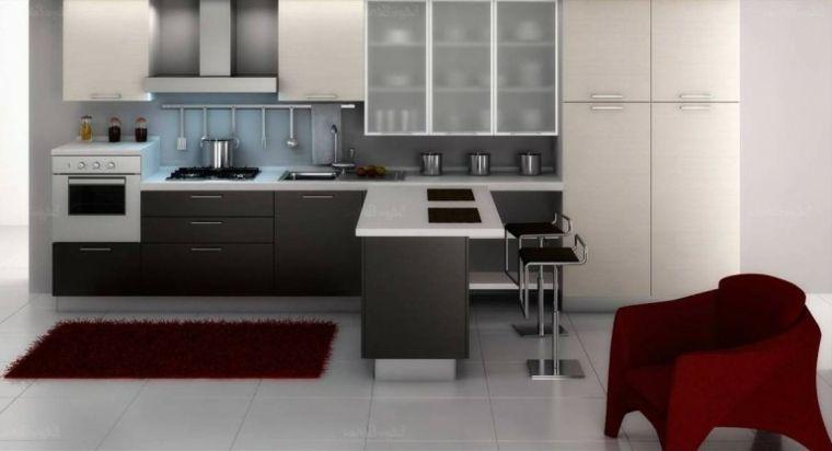 Muebles de cocina modernos en gris y blanco cocinas en for Programa de diseno de cocinas integrales