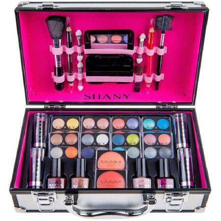 Shany Carry All Makeup Train Case With Pro Makeup And Reusable Aluminum Case Silver Walmart Com In 2020 Makeup Kit For Kids Shany Makeup Makeup Train Case