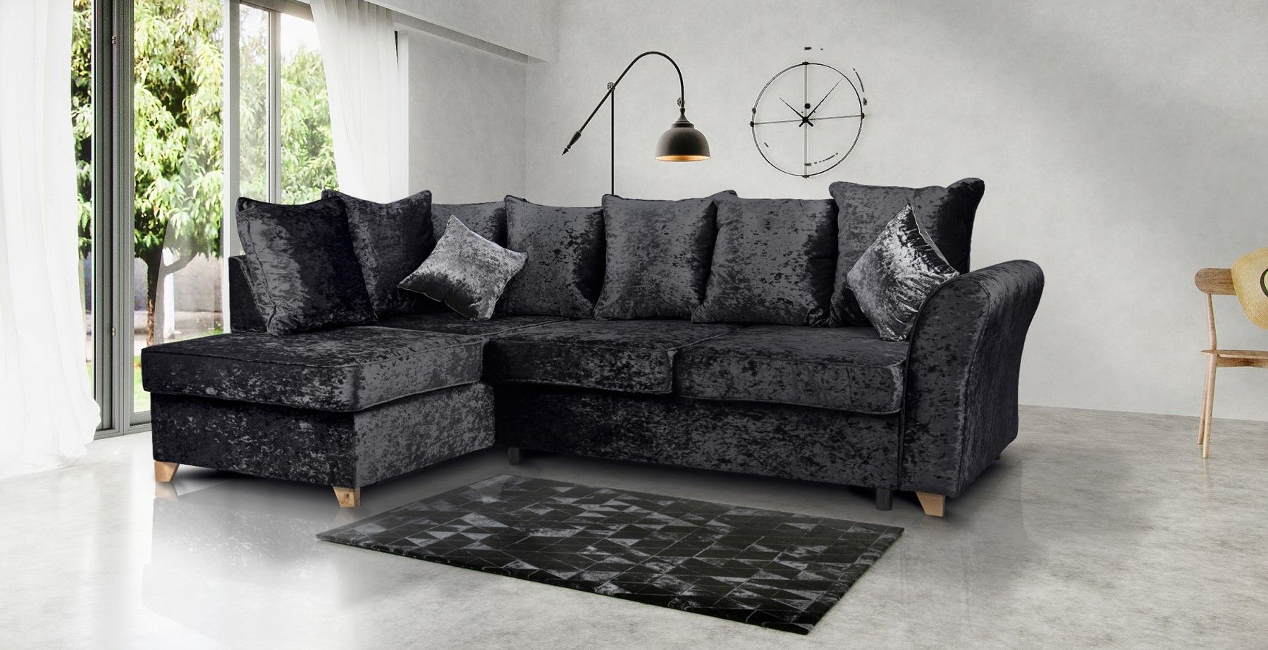upholstered in a crushed velvet fabric the jasmine will