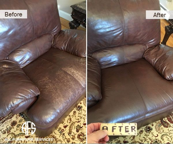 Leather Chair Wear And Tear Discoloration Ling Flaking Worn Color Clean Match Dyeing Restoring