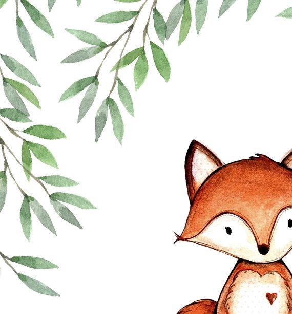 Watercolor fox print - Watercolor wall art - Nursery boy or girl - Nursery wall art - Woodland nurse