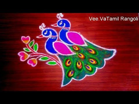 Colourful Two Peacocks Flower Rangoli Kolam|Rangoli DesignWithDots|margazhi Kolam Sankranthi Muggulu