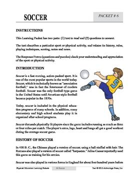 Soccer An Academic Learning Packet Learning Worksheets Fun Math Worksheets For Kids