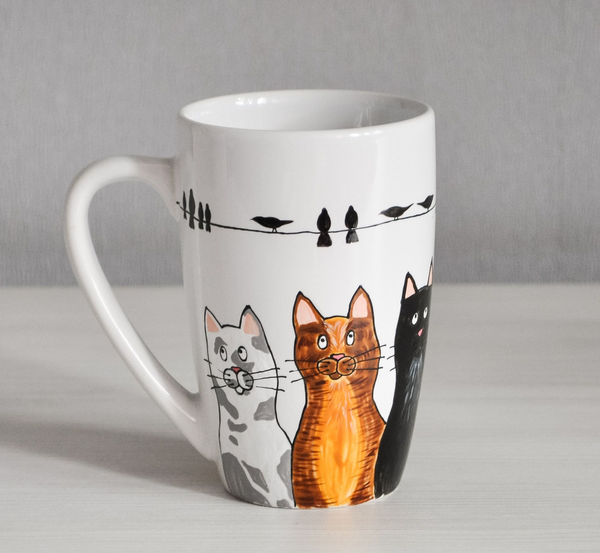 Cat Tea Cup Cat Lovers Mug Painted Coffee Mug Funny Coffee Etsy In 2020 Cat Coffee Mug Painted Coffee Mugs Mugs