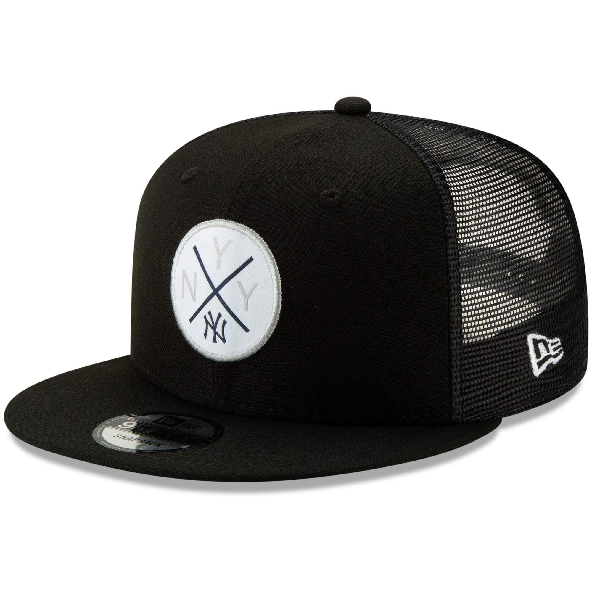 Men S New York Yankees New Era Black Vert Trucker 9fifty Adjustable Snapback Hat In 2020 Snapback Hats Dodger Hats Hats For Men
