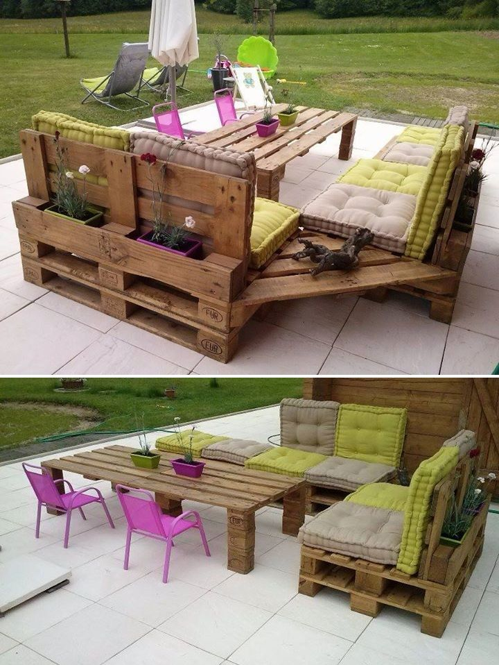 Salon de jardin réalisé avec 12 palettes. Elles ont été entièrement ...