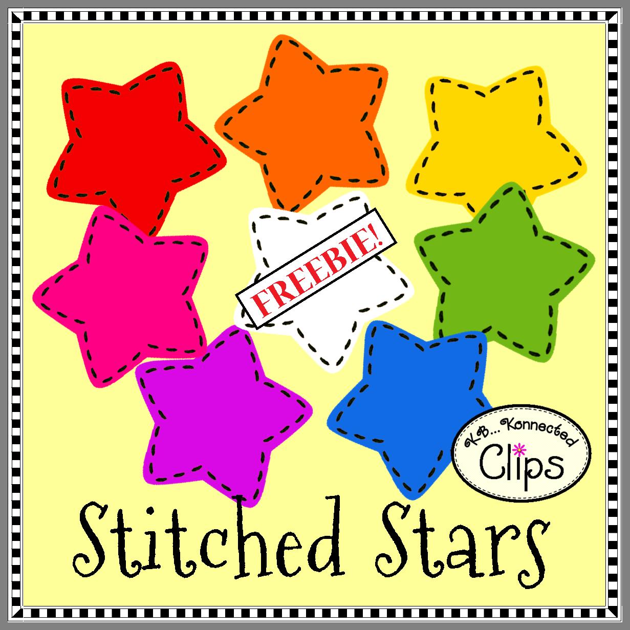 Clip Art Freebie Stitched Stars