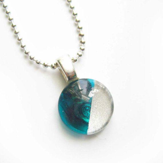 Aqua and silver minimalist geometric pendant  hand by azurine, $20.00