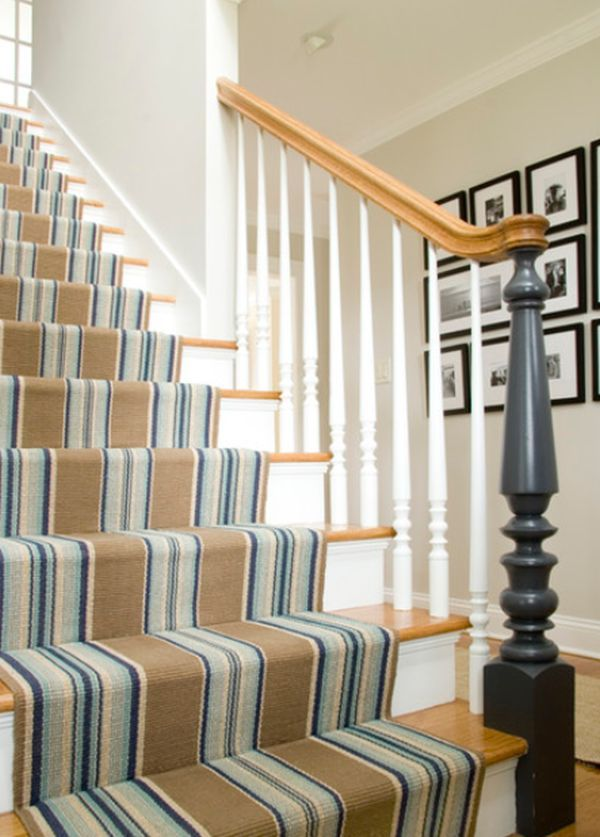 Decorate Your Stairway With A Striped Carpet Staircase