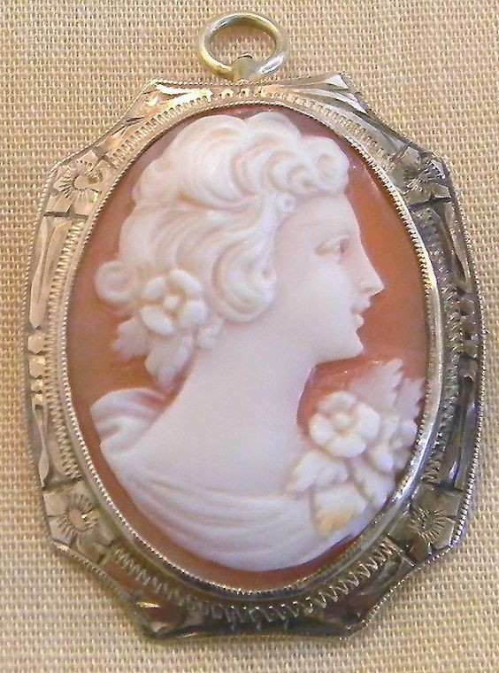 Victorian 10 KT Gold Carved Shell Cameo Pin Pendant with Fancy Engraved Frame