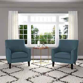 Yuri Fabric Accent Chair 2 Pack Blue With Images Blue Accent