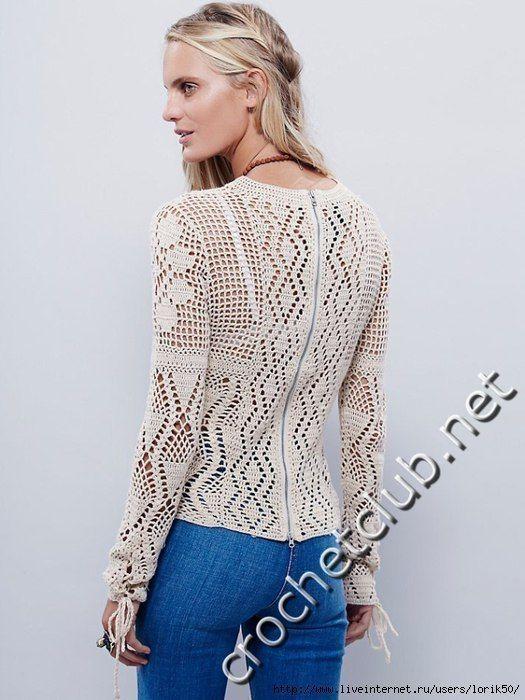 Patrones de crochet – Blusa – Diagrama de ganchillo – Comando Craft ...