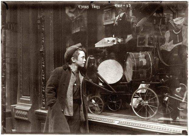 Vintage Christmas Photo Boy Looking At Toys In A Shop Window New York Circa 1910