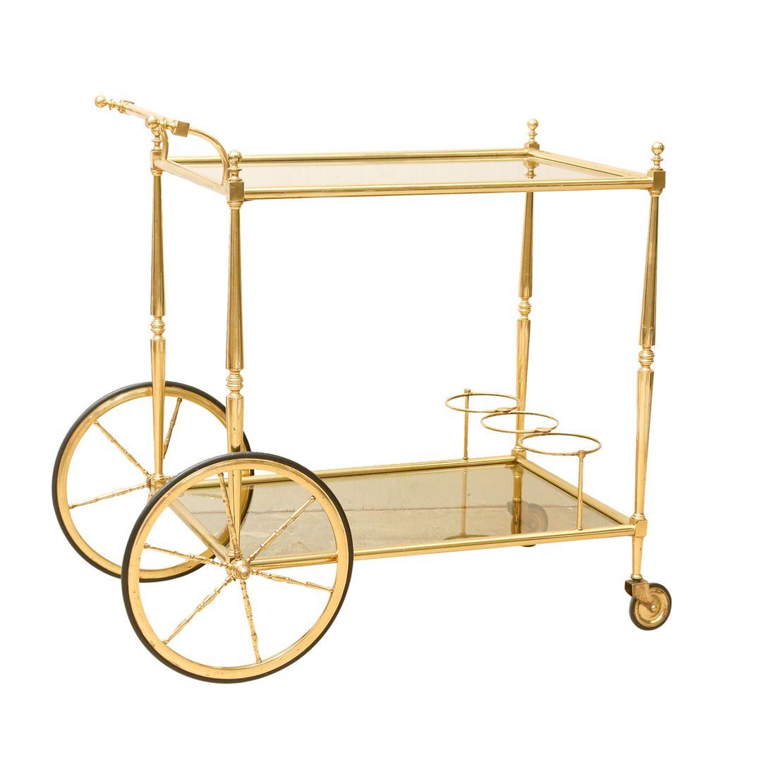 Stunning Hollywood Regency Stylized Italian Brass Bar Cart