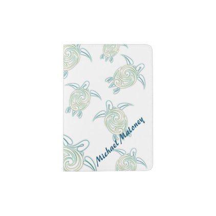 Sea Turtles Pattern White Green Passport Holder Turtle pattern