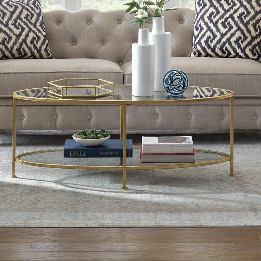 Home Decorators Collection Bella Aged Gold Oval Glass Coffee Table 9967300910 The Home Depot Table Decor Living Room Coffee Table Decor Living Room Coffee Table [ 1000 x 1000 Pixel ]