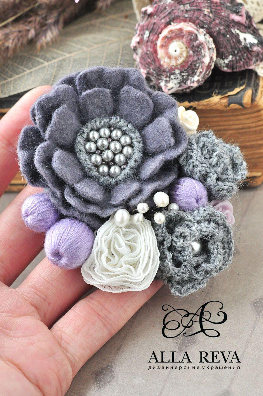 """Купить Брошь """"Светлые сны"""" - комбинированный, лиловый, серый, брошь цветок, брошь войлочная"""