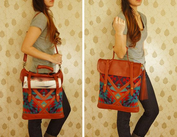 Brown leather and Navajo Pendleton tote, Ipad pocket-  'The Coastal Tote Bag'