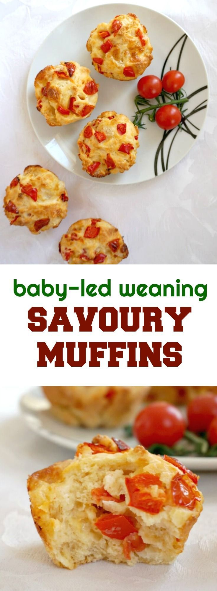 Savoury Muffins With Tomatoes Red Peppers And Mozzarella A Delicious And Healthy Finger Food Idea For B Baby Food Recipes Healthy Finger Foods Savory Muffins