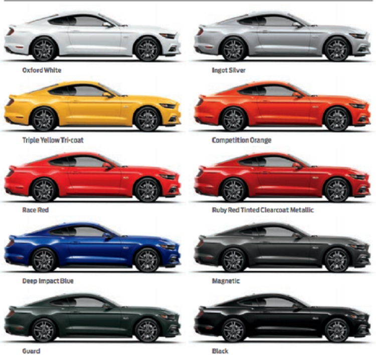 2016 Ford Mustang Colors