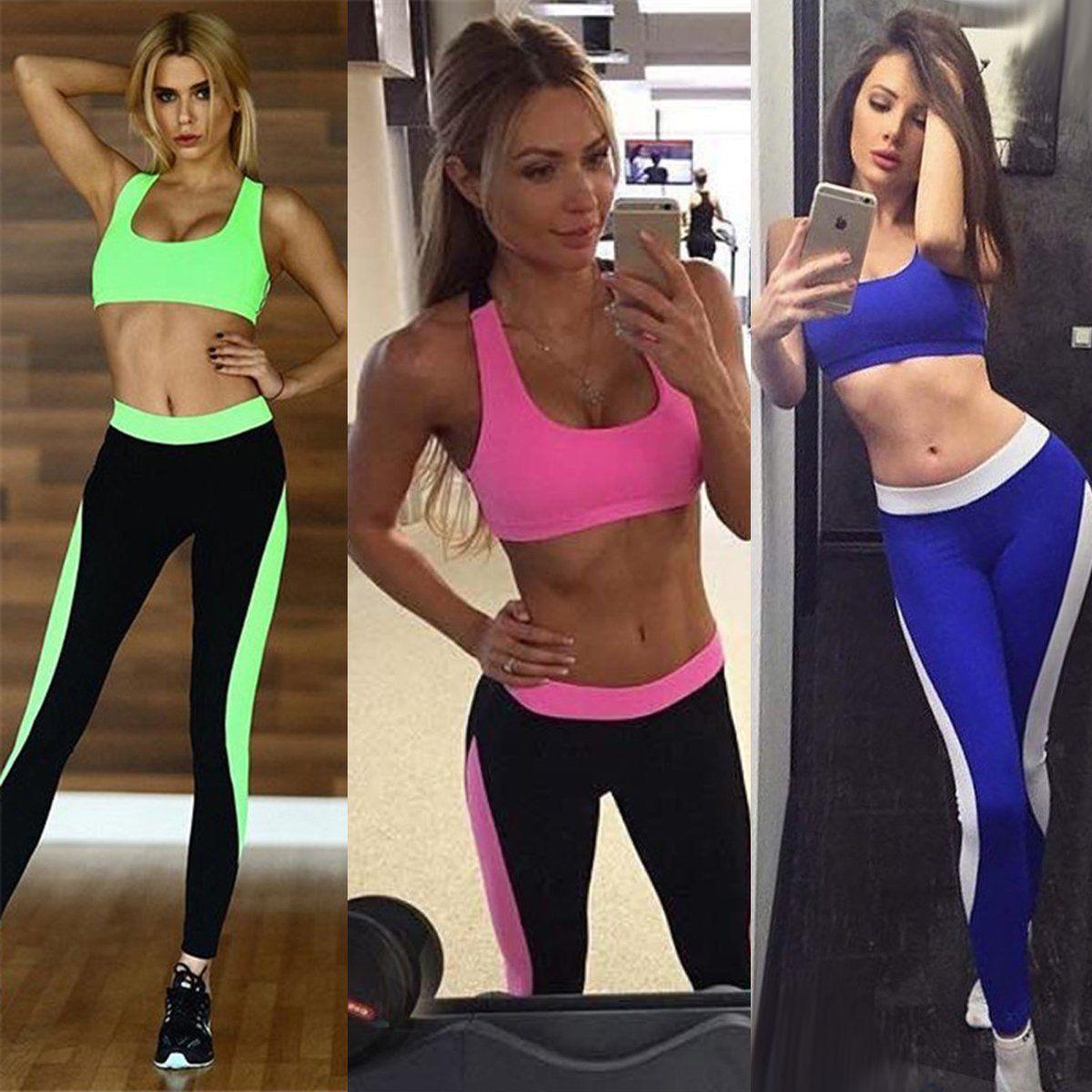 830f3158110dda Activewear Women Yoga Fitness Crop Top Vest Bra+Pants Leggings Set Gym  Workout Sports Wear Activewear Tops