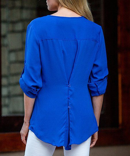 Amaryllis Royal Blue Convertible Button Front Top Zulily T