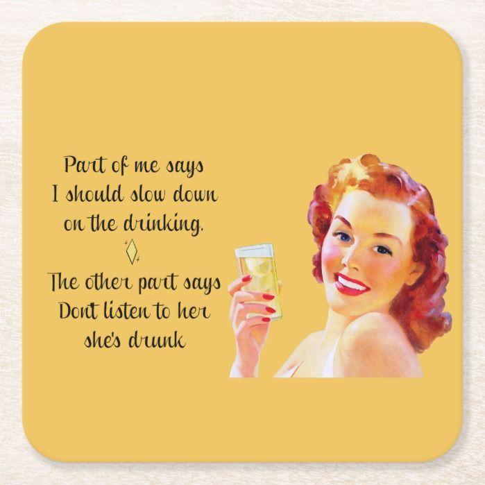 Photo of Retro Housewife Funny Quote Drinking Coaster   Zazzle.com –   – #coaster #drinki…