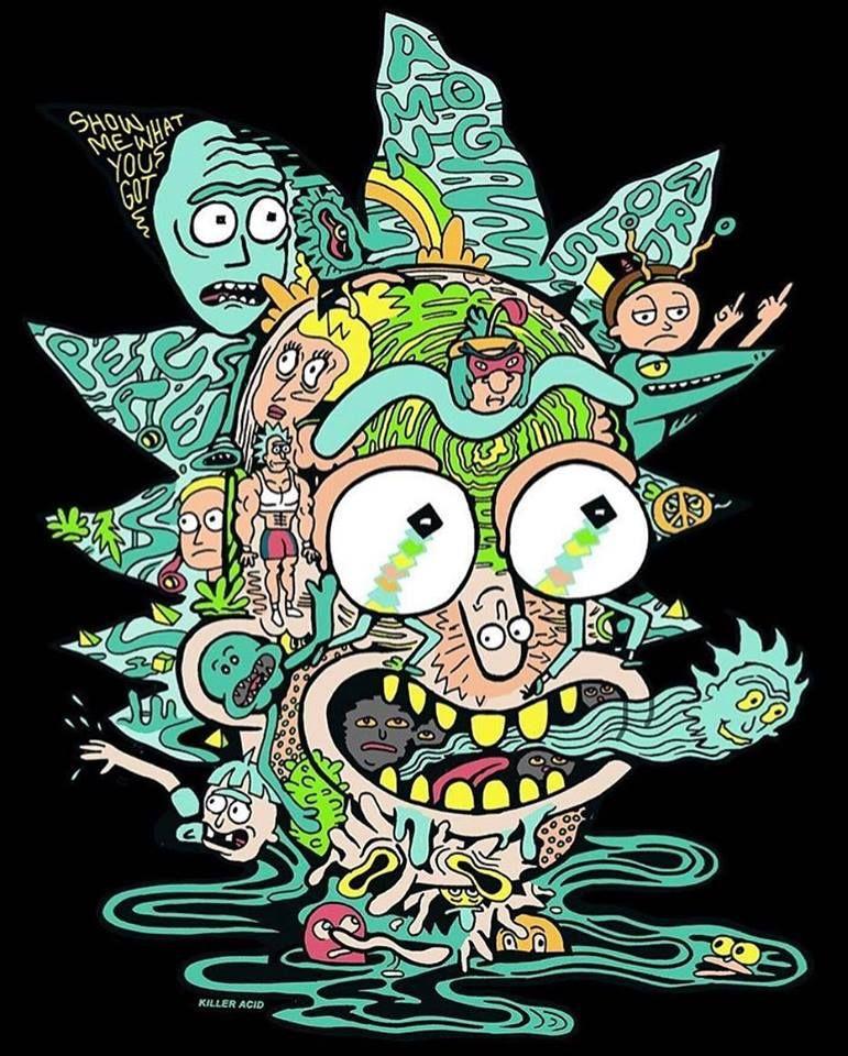 Psychedelic Rick and Morty Imagem de fundo para iphone