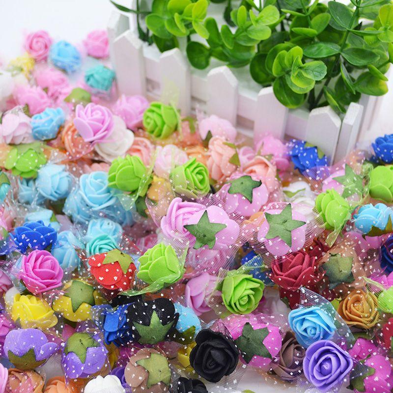 100Pcs Artificial Mini PE Foam Rose Flower Head Handmade DIY Wreath Fake Flower