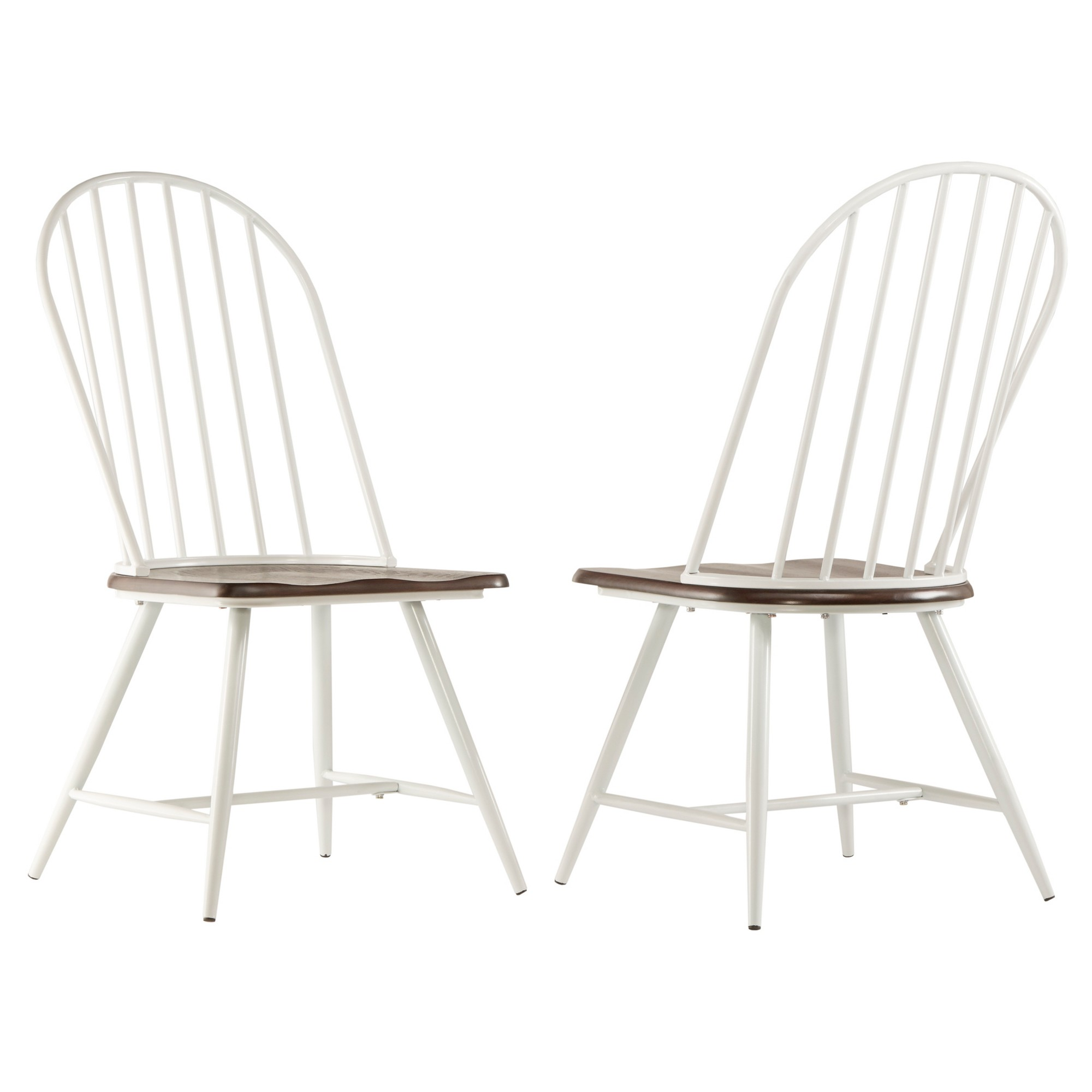 Juniper Lane Mixed Media Windsor Dining Chair Metal White